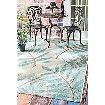 "nuLOOM Indoor/Outdoor Trudy Rug, Turquoise, 5 3"" x 7 6"""