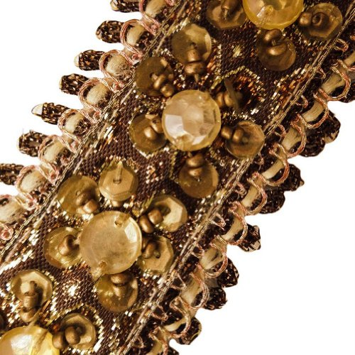Brown Base Beaded Trim Copper Sequin Decorative Border Lace Sewing India 3 Yd