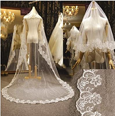 eFuture(TM) White Elegant Singer Layer Lace Applique Edge 118 Inch Long Embroidery Bridal Wedding Veils +eFuture's nice Keyring