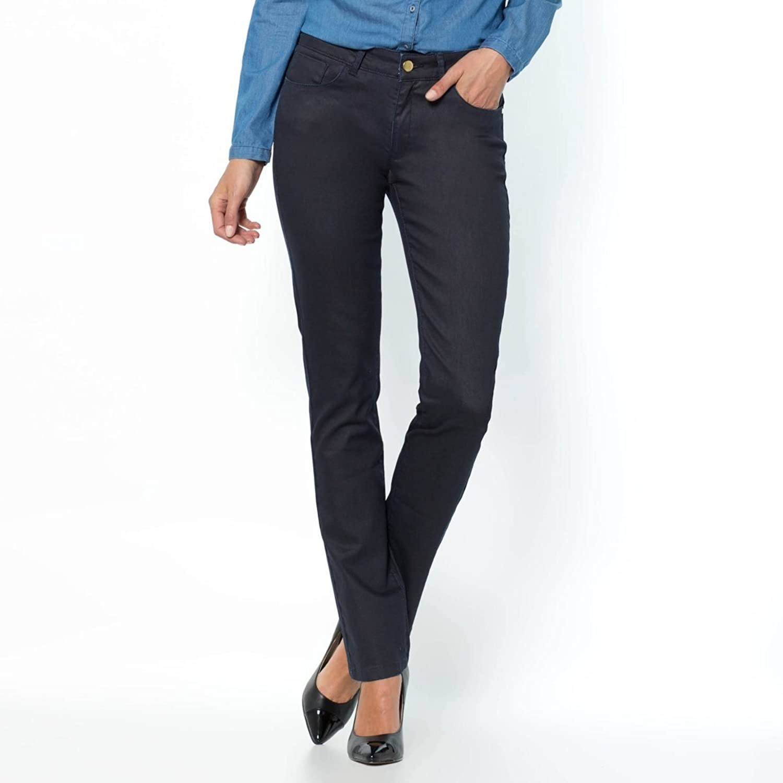 La Redoute Womens Coated Stretch Cotton Cigarette Cut Trousers