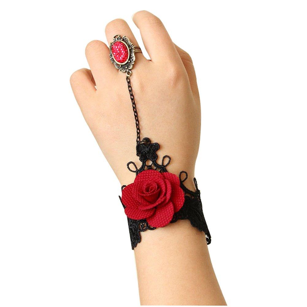 Handmade Craft Romantic Beautiful Retro Vintage Gothic Style Rose Lace Pattern Design Vampire Jewelry