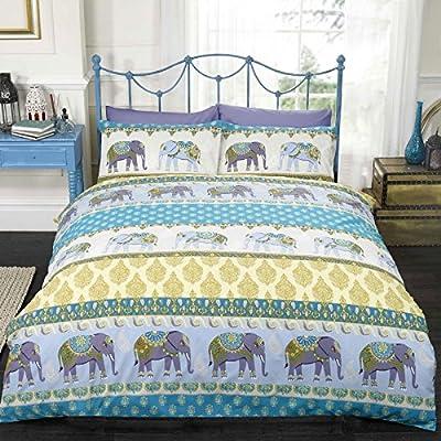 Jaipur Elephant UK Double/ US Twin Duvet Cover and Pillowcase Set - Blue