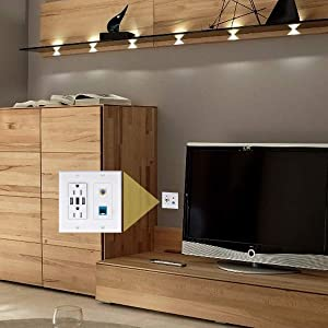 2 Power Outlet 15A with Dual 2.4A USB Charger Port Wall Plate with LED Lighting, IQIAN 1 CAT6 RJ45 Ethernet + Coaxial Cable TV F Type Keystone Face Plate White (Color: 2b-bb-1)