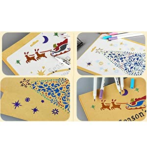Welecom 12 Pcs Drawing Stencils Set Painting Stencil Templates for Kids Crafts,DIY Arts&Crafts Set for Boys&Girls with Merry Christmas Snowflake,Elk,Tree,Gift,Santa Claus Stencils,Washable Template (Color: Christmas Series)