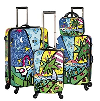 Heys USA Luggage Britto Palm Hard Side 4 Piece Luggage Set, Multi-Colored, One Size