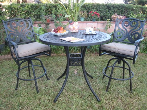 Outdoor Patio Furniture Cast Aluminum 3 Piece Bar Stool Table Set with 2 Arm Swivel Rock Chairs Cbm1290