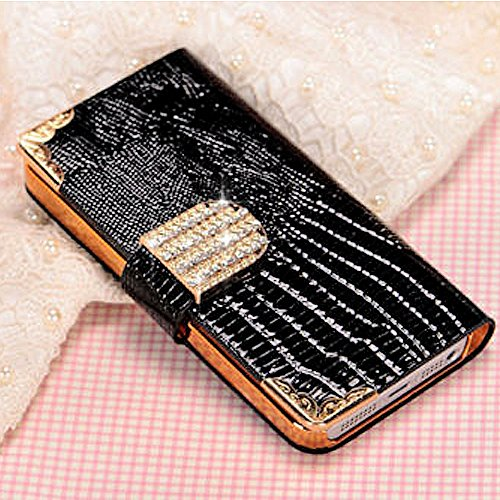 Mylife (Tm) Ebony Black - Chrocodile Design - Textured Koskin Faux Leather (Card And Id Holder + Magnetic Detachable Closing) Slim Wallet For Iphone 5/5S (5G) 5Th Generation Itouch Smartphone By Apple (External Rugged Synthetic Leather With Magnetic Clip