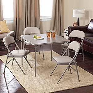 meco sudden comfort deluxe double padded chair and back 5 piece card table set. Black Bedroom Furniture Sets. Home Design Ideas