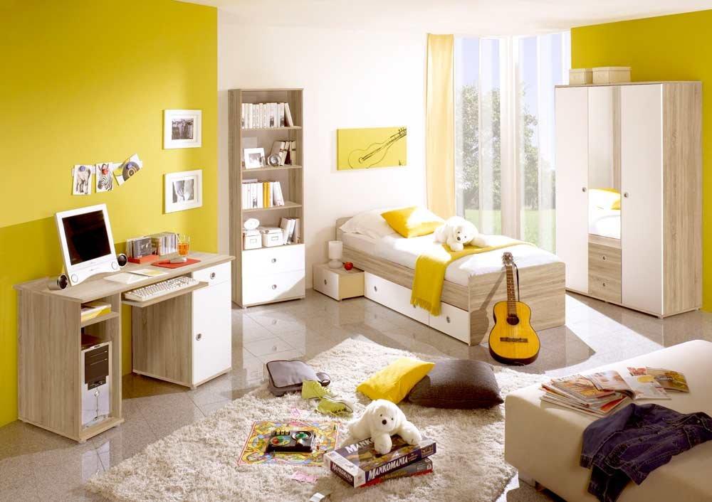 Jugendzimmer in Eiche Sonoma NB und Abs. in weiß, Kojenbett (ca. 90x200cm), Schreibtisch mit Tastaturauszug, Kleiderschrank (B:ca. 115cm)