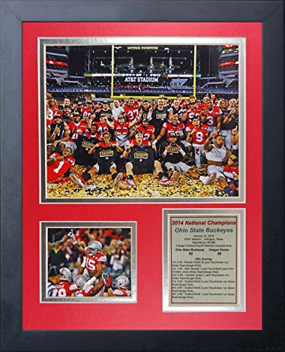 NCAA Ohio State Buckeyes Legends Never Die Framed Photo Collage (2014 CFP Football National Champions), Celebration 1, 11 x 14-Inch (Osu Buckeyes National Champions compare prices)