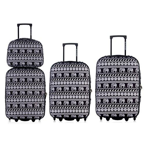 DAVIDJONES Vintage Print 4 Piece Luggage Set-Elephant Black (Giraffe Garment Bag compare prices)