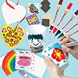 Porcelain Painting Super Value Pack. Save 24% when bought in pack! Includes 4 large contemporary porcelain mugs, 5 ceramic heart hanging decorations, 6 ceramic tile coasters, 10 ceramic tile magnets and 5 brilliant porcelain paint pens.