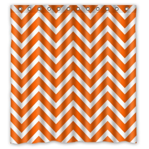 Chevron Shower Curtain - Orange White Zigzag Pattern