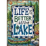 Better at the Lake Everyday House Flag Canoe Camp Fire Outdoor Wildlife 28