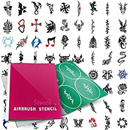 PointZero Temporary Tattoo Airbrush Stencils 100 Designs - Book 1