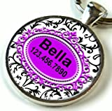Pet Id Tag Black and White French Flower Purple Insert (Regular 1.00