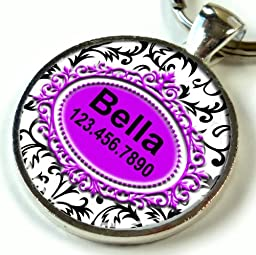 Pet Id Tag Black and White French Flower Purple Insert (Large 1.50\