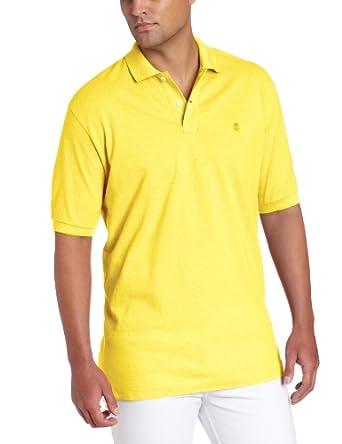 IZOD Men's Short Sleeve Solid Oxford Pique Polo, Dandelion, Small