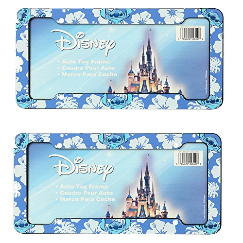Lilo & Stitch Blue Hawaiian White Hibiscus Flowers Disney Auto Car Truck SUV Vehicle Universal-fit License Plate Frame - Plastic - PAIR (License Plate Frame Hibiscus compare prices)