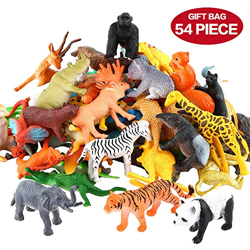 Animals-Figure54-Piece-Mini-Jungle-Animals-Toys-SetZoo-World-Realistic-Wild-Vinyl-Pastic-Animal-Learning-Resource-Party-Favors-Toys-For-Boys-Kids-Toddlers-Forest-Small-Farm-Animals-Toys-Playset