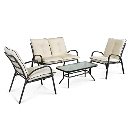 iKayaa 4 Piezas Conjunto de Mueble Tabla y Sillas para Jardín Café Color Blanco Cremoso