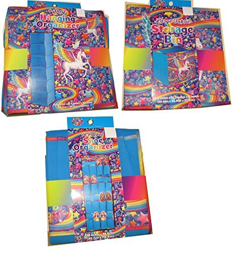 Lisa Frank Storage Bundle PEGASUS Hanging Shelves, Storage Cube, Shoe Storage