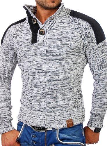 Tazzio Herren Patched Grobstrick Winter Pullover Gr. Medium, Weiß