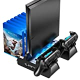 OIVO PS4 /PS4 Slim/PS4 Pro Vertical Cooling Stand with Controller Charging Dock and 12 Game Slots