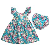 GRNSHTS Baby Girls Flower Print Ruffles Dress Set with Briefs (110 cm/ 4-5 Years, Floral Dress & Briefs)