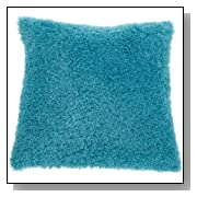 Turquoise Blue Soft Poodle Throw Pillow
