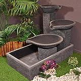 Fontaine de jardin à débordement bassin 3 vasques noire grise...