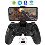 ALLCACA Wireless Game Controller 2.4G PS3 Rechargeable Bluetooth Gamepad for Android Smartphone, Playstation 3, PC Windows XP/7/8/10, Tablets, Smart TV and TV Box (Not for iOS) (Color: Black1)