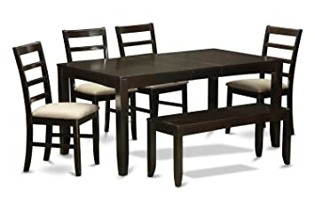 East West Furniture LYPF6-CAP-C 6-Piece Dining Room Table with Bench, Cappuccino Finish