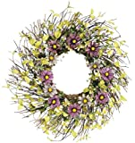 Melrose Twig Wreath with Purple and Lavender Daisies, 24-Inch