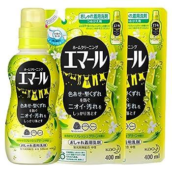 【まとめ買い】エマール 洗濯洗剤 液体 おしゃれ着用 リフレッシュグリーンの香り 本体(500ml)+詰替用(400ml)×2個