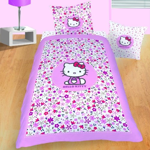 hello kitty flora 38752 parure housse de couette 140 x 200 cm taie d oreiller 63 x 63 cm. Black Bedroom Furniture Sets. Home Design Ideas