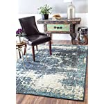 "Traditional Vintage Inspired Overdyed Distressed Fancy Blue Area Rugs, 7 Feet 10 Inches Square (7' 10"" Square)"