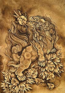 lion and his attendants by clark north asian shisa dog tattoo canvas art print. Black Bedroom Furniture Sets. Home Design Ideas