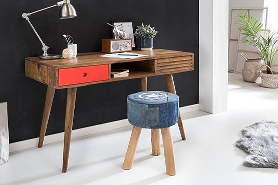 Wohnling scrivania Repa 120x 60x 75cm da tavolo in legno massello di sheesham naturale | stile country tavolo da lavoro con 2cassetti ufficio tavolo PC da tavolo, Legno, Red, 120 x 60 x 75 cm