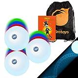 Firetoys 3x LED Strobe Effect Juggling Balls, Mr Babache Jugling Instruction Booklet & Bag