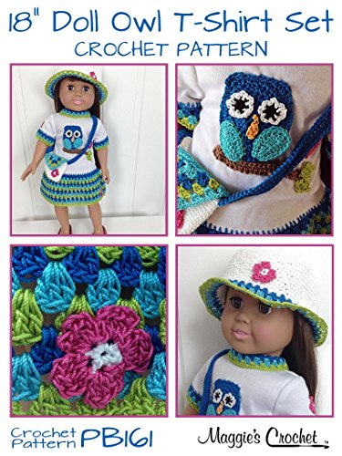 Crochet Pattern Owl T-Shirt Dress, Hat & Purse for 18