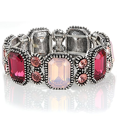 [Menton Ezil Handmade Women Pink Rhinestone Stretch Bangle Bracelet Party Jewelry] (Labor Day Parade Costumes For Sale)