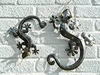 Metal Wall Art Gecko Lizard - Silver Set Of 2