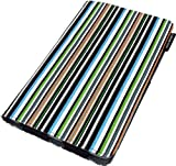 Lente Designs® Google Nexus 7 protective stylish multi angle smart cover case in midnight stripes a sophisticated mix of cool blue, green, black stripy design perfect for home or office use printed on cotton canvas (Not v2 2013 model)