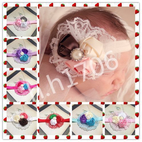 4pcs Kids Baby Girls Infant Toddlers Princess Flower Headband Hair Bow Christmas rose