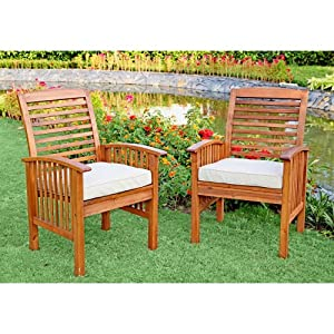 Walker Edison Acacia Wood Dining Chairs, Set of 2 with Cushions by Walker Edison - Lawn & Garden