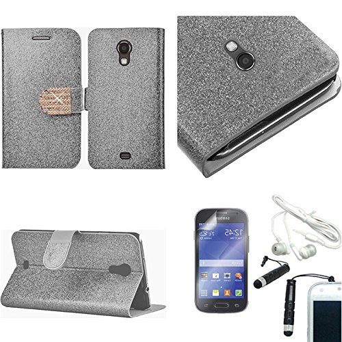 [Arena] Silver Glitter Bling Gem Flip Cover Wallet Stand Case For Samsung Galaxy Light T399 + Free Arena Accessories