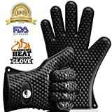 The Amazing Heat Resistant Silicone Kitchen and BBQ Gloves Provide Unsurpassed Quality - Ideal for Inside Oven Cooking or Outside Bbq Grilling. Avoid Dangerous and Painful Burns with These Cooking Gloves. Your Ultimate Protection for High Temperatures and More Efficient Than Potholders. Flexible, Versatile, and Engineered with a Superb Grip. The Amazing Heat Resistant Kitchen and Grill Glove Is Waterproof, Dishwasher Safe, and Outperforms Oven Mitts & Any Other Related Product. 100% MONEY BACK GUARANTEE! (Black)