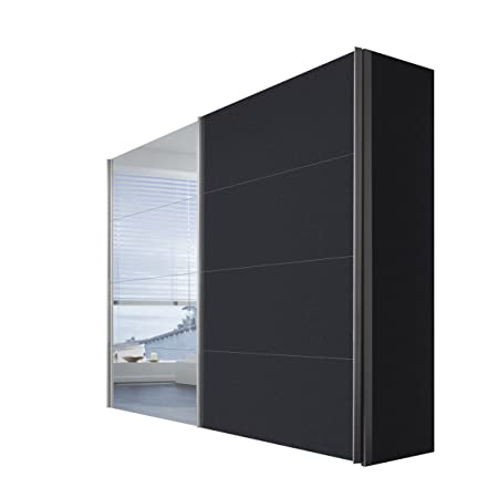 Solutions 47510-969 Schwebeturenschrank 2-turig, Korpus und Front graphit, Spiegel, Griffleisten alufarben, 68 x 250 x 216 cm