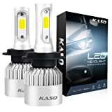 H7 LED Headlight Bulbs - KASO All-in-One Conversion Kit 8000LM 72W/Set 6500K Cool White Highly Waterproof 3 Years Warranty (H7) (Tamaño: H7)
